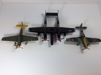 F-82G Twin Mustang, P-51C Mustang, and Mustang MK.IV